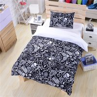 Cheap Black and White Bedding Paisley American Flag Bedding Skull Bedding New Hot Duvet Cover Set Twin Full Queen