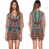 Wholesale 2016 Vintage Women summer short dresses with sleeve Geometric pattern print vintage loose flowy dress DHL
