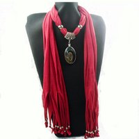 Wholesale pendants scarf jewelry New scarf with jewellery cotton soft scarves beads Mix design Colors WY98 p