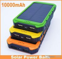 Wholesale New Style Full mAh Power Bank Ultra thin Waterproof Solar Power Banks A Output Cell Phone Portable Charger Solar Powerbank