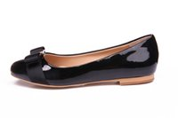 Loafers black heel bow - 2016 New Big Size Women Flats Brand Genuine Leather Ballet Shoes Woman Bow Tie Designer Flats Ladies Zapatos Mujer Sapato Feminino DA002