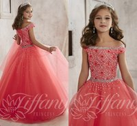 short pageant dresses for girls - Little Girls Pageant Dresses wear New Off Shoulder Crystal Beads Coral Tulle Formal Party Dress for teen Kids Flowers Girls Gowns