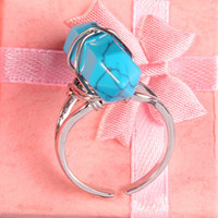 Wholesale Charm Mini Turquoise Onyx etc Hexagon Prism Natural Stone Adjustable Finger Rings Accessories Silver Plated Fashion Jewelry Amulet
