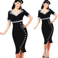 Wholesale 2015 New Womens Vintage Pinup Retro Elegant V Neck Colorblock Bow Button Work Wear Business Party Mermaid Bodycon Pencil Dress