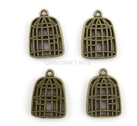 bamboo bird cage - 100pcs bird cage antique bronze zinc alloy pendant charm drops for diy X18mm lead and nickle free