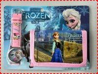 Wholesale Drop shipping sets mixed Kids Gifts Cartoon frozen Anna elsa Boys Girls quartz watch wallet purse sets