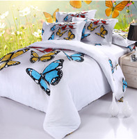 Wholesale 2014 Promotion d Your Life Natural Cotton Elegant Super Soft Bed Linen Oil Painting Butterfly Comforter Cover Set