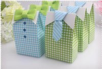 baptism favor boxes - 50PCS Cute Boy wedding Favor Box with bow tie baby shower baptism party candy box