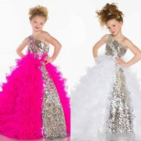 Reference Images Girl Beads BM 2014 Cute Lovely Girl Sequins Crystal Ruffles A Line Tulle Long Girl's Pageant Flower Girl Dresses With One Shoulder Made In China