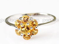 Wholesale Natural real citrine ring sterling silver rings Yellow flower jewelry Perfect jewelry DH