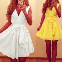 ladies chiffon fashion dresses - New Brand Sexy Women Dress Fashion Lady Summer Sleeveless V Neck Casual Chiffon Dresses Party Ball Gown Vestios White Yellow