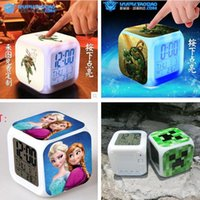 Wholesale More cartoon LED D Froze Big Hero Digital desk table alarm clock Elsa Anna olaf alarms colors change watch Glowing Clocks H467