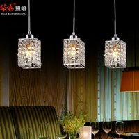 crystal chandelier lighting - 3head modern square LED crystal chandeliers dining room lights kitchen lighting staircase lamp hanging lights modern light fixtures