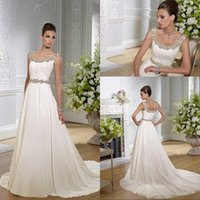 Cheap 2015 Beading Chiffon Backless Beach Wedding Dresses With Scoop Neckline Sleeveless A-Line Sweep Train Ruched Bridal Gowns Bridal Dresses