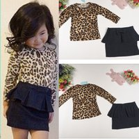 Cheap DHL free baby Girl Dress Girls Outfits Spring Leopard Long Sleeve T Shirt Denim Skirt Children Sets kids baby clothes Clothing wholesale