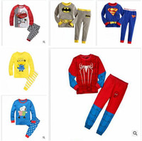 Wholesale Despicable Me kids Superhero Pajamas Frozen Cartoon Sleepwear Printing Shirts Pants Set Batman Ironman Cotton Pyjamas Suits R1203