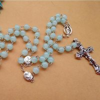 antique catholic - New Arrived Fashion Religious Jewelry Long Blue Glass Beads Antique Metal Cross Pendant Catholic Rosary Necklace