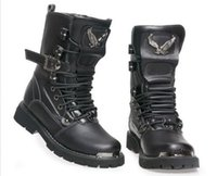 Wholesale Fashion Men Buckle Lace Up Black Military Style Combat Riding Boots Ankle Shoes