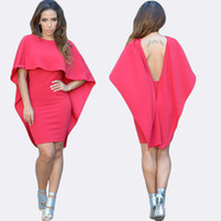 Wholesale Black Red White Winging Angle Women Cape Style Backless Dress LC22428 womens fall fashion bodycon Mini party Dresses MK1029