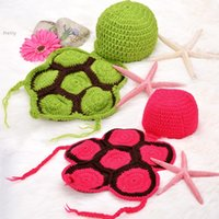 Wholesale HOT Hat Outfit Photo Prop Outfits Sets Tortoise Cute Newborn Baby Costume Crochet Knit Suit Sweater Photography