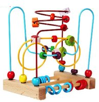 Wholesale simple package large size Baby wooden toys Mini around beads Wire maze Colorful fruit Educational learning game for Children