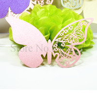 place cards - 96pcs Butterfly Laser Cut Paper Place Card Escort Card Cup Card Wine Glass Card For Wedding Decoration Wedding Favors
