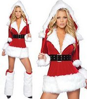 Wholesale Hot Sale SEXY COSTUME Women Dress Santa Claus ADULT COSPLAY Christmas Costume Party dress perform costumes