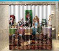 alice in wonderland decor - Alice in Wonderland Eatting Food Fabric Shower Curtain x180cm Waterproof Mouldproof Shower Curtain Decor Bathroom