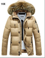 Wholesale AFS JEEP Men S Jacket Winter New Men S Duck Down Jacket With Hooded Brand Natural Fur Collar Sports Casual Jacket Coat FREE SHIPPIN