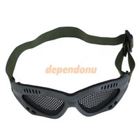 Wholesale Tactical Airsoft Steel Mesh Eyes Protective Goggles Glasses Army Green