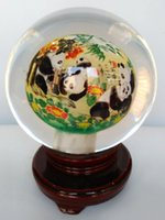animal hand art - 2016 New Chinese hand made artwork glass handicraft glass globe terrarium inner panda crystal ball miniatures
