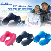 Wholesale Portable Inflatable Neck Air Pillow U shaped Cushion Pillow for Outdoor Travel Sleeping Deep Blue Fuchsia Light Blue