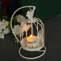 Wholesale Bird cage decoration with stand small hanging wrought iron candle holders birdcage gaiola decorativa home decor