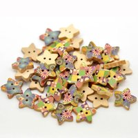 Cheap Hot Sale 100pcs Mixed Star Shape 2 Holes Wood Sewing Buttons Scrapbook 18x17mm Knopf Bouton(W01525 X 1) AA