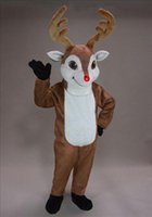 Wholesale Rudolph Reindeer Mascot Costume Mascot Costume Outfit Adult Size