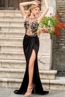 Wholesale New Arrival Sexy Sheer Top Evening Dress Formal Gown Elegant With Lace Applique Gold Black Front Split Prom Gown Tarik Ediz Robe S6839