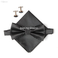 Wholesale Hot sell Black men s neck ties set bow tie hanky cufflinks butterfly Pocket square