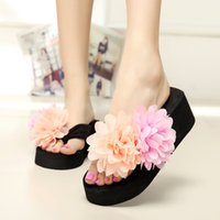 Cheap Women Flip Flops With Double Flowers Zapatos Mujer Thick Heel High Platform Sandalias Light EVA Sole Sandals Wedges Slippers