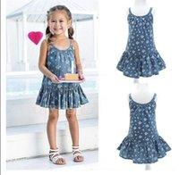 Wholesale Cute Jean Dresses - Toddler girl dresses 2015 Summer Cute Jean Sundress For Girls Sleeveless Flower Print Tutu Dress kids infant clothing BH2296