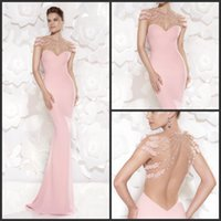pink mermaid prom dresses - 2015 dresses Short Sleeve Crew Pink Mermaid Prom Dresses Crystal Beaded Backless Long Evening Gowns Party Dresses