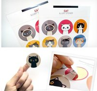 Wholesale Freeshipping set Cartoon cat illust sticker note label Multifunction Cartoon DIY Paper Sticker Sign post