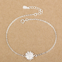 Wholesale Pretty Chrysanthemums Bracelets Lobster Clasp Link Chain Sterling Silver Fashion Jewelry Female Bracelets Gold Silver New