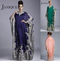 arab kaftans - 2015 Dubai Kaftans Evening Dresses Long Jewel Long Sleeves Lace Appliqued Chiffon Arab Muslim Women Prom Gowns Formal Dress Evening