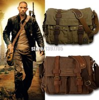 Wholesale HOT Canvas crossbody bag men I AM LEGEND Will Smith military army vintage Canvas messenger bags laptop canvas satchel men HF2138