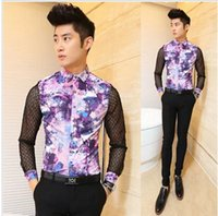 Cheap polo new 2015 casual slim fit sexy man lace dress long sleeve mens see through shirtsmens floral shirt designer clothes,M-XXL
