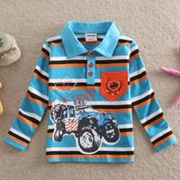 Precio de Coche de camisetas al por mayor-Wholesale-NEAT al por mayor compras libres 2015 nuevos babykids chicos guapos camiseta de la impresión de la raya del coche bolsa de ropa de algodón de los niños pequeños