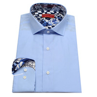 bespoke tailored shirts - baby blue men s bespoke tailor made Dress Shirt contrast collar and cuff