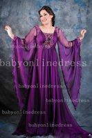 abaya - 2014 New Arrival Purple Evening Dresses Arabic Dubai Abaya Kaftan Long Chiffon Evening Gowns w