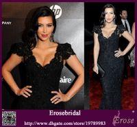 Cheap Kim Kardashian 2015 Golden Globe Awards Cap Sleeves V Neck Lace Mermaid Celebrity Dress EWL220