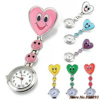 Wholesale New Hot Women s Cute Smiling Faces Heart Clip On Pendant Nurse Fob Brooch Pocket Watch